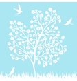 blooming tree and birds vector image vector image