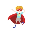 Boy In Superhero Costume With Red Cape vector image