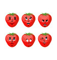 strawberry emotions set red berry evil and good vector image