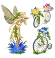 Vintage statue fairies and bikes with flowers vector image
