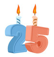 25 years birthday number with festive candle for vector image