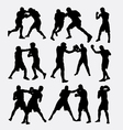 Boxing fighting silhouette vector image