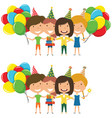 beauty girls hugging and holding colorful wrapped vector image