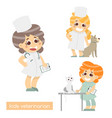 cute kids vets isolated set of 3 characters of vector image