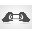 Game console in hands Gamepad flat icon vector image