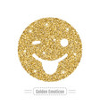 gold emoticon is winking and smiling is showing vector image