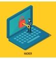 Hacker breaks into computer vector image