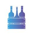 line wine bottles inside wood box design vector image