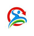 people run sport abstract logo vector image