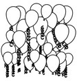 sketch silhouette flying balloons and serpentine vector image