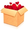 Ornate open box with red paper hearts inside vector image vector image