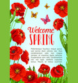 poster of flowers and welcome spring quotes vector image