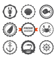 Set of seafood labels Seafood logos and design vector image vector image