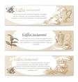 Banner set of vintage coffee backgrounds vector image