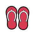 beach pair flip flops accessories icon vector image