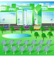 green city trees lake renewable energy vector image