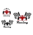 Motor racing sport icons with race cars vector image