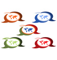 set of chat bubbles of different colors and shades vector image