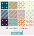 Set of 12 seamless patterns with hearts vector image