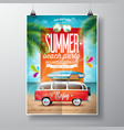 Summer Beach Party Flyer Design with travel van vector image vector image