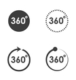 black 360 Degrees icons set vector image