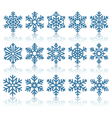 Black Flat Snowflakes Icons with Reflection vector image