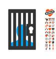 prison door icon with valentine bonus vector image
