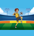 soccer player juggling the ball in soccer stadium vector image