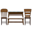 Wooden chairs and tables vector image