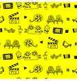 Seamless hand drawn pattern with cinema attributes vector image