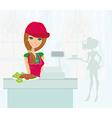 saleswoman serves lunch vector image