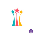 Fireworks logo Three color stars with long trails vector image
