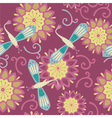 vintage dragonfly floral background vector image vector image