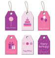 Happy Birthday tags labels vector image