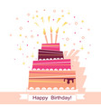 birthday sweet cake card vector image