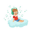 cute little boy sitting on cloud listening music vector image
