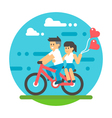 Flat design couple riding bicycle vector image
