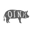 Pig Silhouette with Oink Text vector image