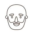 sketch contour caricature old bald man bearded vector image