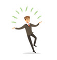 Successful businessman standing and juggling with vector image