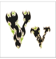 fiery font black and green letter V on white vector image
