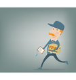 Free shipping Courier delivering a package vector image