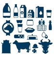 Milk set of dairy products and objects vector image