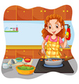 Woman cooking in the kitchen vector image