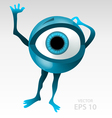 Warning anxious blue eyeball character vector