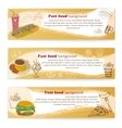 Banner set of vintage fast food backgrounds vector image