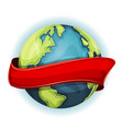 earth planet with ribbon vector image