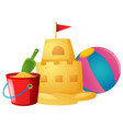 sandcastle and beach ball vector image