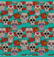 seamless pattern with sugar skulls and roses dia vector image