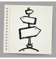 Wood sign board - cartoon doodle vector image